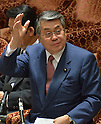 February 3, 2012, Tokyo, Japan - Japans Defense Minister Naoki Tanaka raises his hand before speaking during a Diet lower house Budget Committee meeting in Tokyo on Friday, February 3, 2012. Tanaka was caught in a crossfire from the opposition camp when a senior Defense Ministry official has come under fire for encouraging his subordinates to vote in the upcoming mayoral election in Ginowan, Okinawa Prefecture, which hosts the U.S. Marine Corps' Air Station in Futennma. (Photo by Natsuki Sakai/AFLO) AYF -mis-