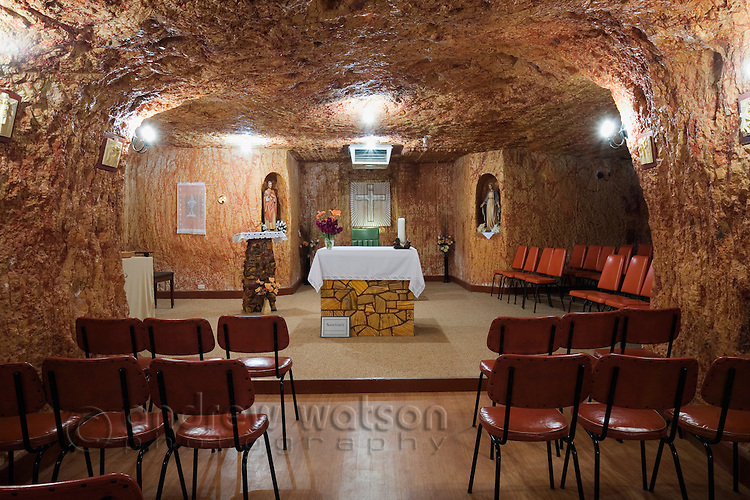 St Peter and Paul Catholic Church.  The church is one of five underground churches in the outback mining town of Coober Pedy, South Australia, AUSTRALIA.