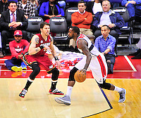 Martell Webster of the Wizards drives the lane against Heat's Mike Miller. Washington Wizards defeated the Miami Heat 105-101 at the Verizon Center in Washington, D.C. on Tuesday, December 4, 2012.   Alan P. Santos/DC Sports Box
