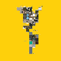 Abstract collage on yellow background  ExclusiveImage ExclusiveArtist