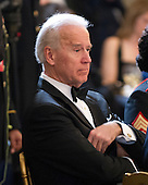 United States Vice President Joe Biden listens to remarks at a dinner to honor our Armed Forces who served in Operation Iraqi Freedom and Operation New Dawn and to honor their families in the East Room of the White House in Washington, D.C. on Wednesday, February 29, 2012..Credit: Ron Sachs / Pool via CNP