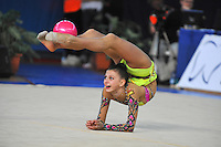 Anastasia Kisse of Bulgaria performs with ball at 2011 Holon Grand Prix at Holon, Israel on March 4, 2011.  (Photo by Tom Theobald)
