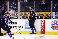 29 October 2009: Announcer David Courtney sitting in the timers box during warmups before the Vancouver Canucks ice hockey team with a 2-1 victory over the Los Angeles Kings at the Staples Center in Southern California during the regular season.