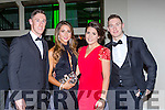 Jonathan Lyne, Adrienne Brosnan, Christina Tangney and James O'Donoghue arriving at the Kerry GAA gala ball in the INEC on Saturday night