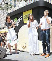NEW YORK, NY - JUNE 22:   Allison Williams, Kelly Rowland and Jaime Camil sing 'Happy Birthday' at the Breyers Ice Cream 150th Birthday Blowout celebration in Madison Square Park in New York, New York on June 22, 2016.  Photo Credit: Rainmaker Photo/MediaPunch
