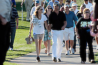 24 January 2009: Celebrity golfer Oliver Hudson with wife Errin Bartlett walking the cart path together holding hands to the 18th hole at Palmer Private at PGA West in La Quinta, California during the fourth round of play at the 50th Bob Hope Classic, PGA golf tournament.