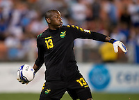 Dwayne Miller (13) of Jamaica throws the ball out at RFK Stadium in Washington, DC.  Jamaica defeated El Salvador, 2-0.