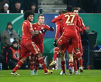FUSSBALL  DFB-POKAL  ACHTELFINALE  SAISON 2012/2013    FC Augsburg - FC Bayern Muenchen        18.12.2012 Jubel nach dem Tor zum 0:2 Dante, Xherdan Shaqiri, David Alaba (v. li., FC Bayern Muenchen)