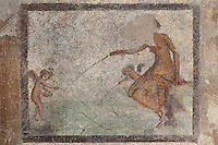 Fresco of Aphrodite fishing with Cupids, on the East wall of a small room off the atrium of the Casa dell Efebo, or House of the Ephebus, Pompeii, Italy. The fresco is in the Fourth Style of Roman wall painting, 60-79 AD, a complex narrative style. This is a large, sumptuously decorated house probably owned by a rich family, and named after the statue of the Ephebus found here. Pompeii is a Roman town which was destroyed and buried under 4-6 m of volcanic ash in the eruption of Mount Vesuvius in 79 AD. Buildings and artefacts were preserved in the ash and have been excavated and restored. Pompeii is listed as a UNESCO World Heritage Site. Picture by Manuel Cohen