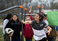 NWA Democrat-Gazette/JASON IVESTER<br /> Alondra (cq) Albarran, Kirksey Middle School sixth-grader, sends her &quot;javelin&quot; through the air Thursday, March 16, 2017, during Greek Day at the Rogers school. Sixth-graders have been studying ancient Greece in their World History class and competed in both athletic and intellectual competitions during the day in the Kirksey Olympics. Gold, silver and bronze awards will be handed out today (FRIDAY) from the events.