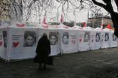 Zaporozhyi, ukraine.March 16, 2006..Yulia Tymoshenko is running for the Prime Minister's seat in the Parliament elections to be held on March 26th. Her election campaign tents are covered in her image.