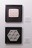 Surface to Structure origami exhibition at Cooper Union, New York. Gallery view. Extruded Boxes designed by David Huffman; reconstructed by Eli Davis, Erik and Martin Demaine; folded by Eli Davis and Jennifer Ramseyer 2013 (top). Three Axis Woven Design collaborators as for previous model 2013 (bottom).