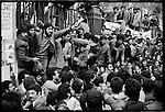 Pro-Khomeini demonstrators at the university march down Shah Reza Boulevard. Tehran, January 27, 1979