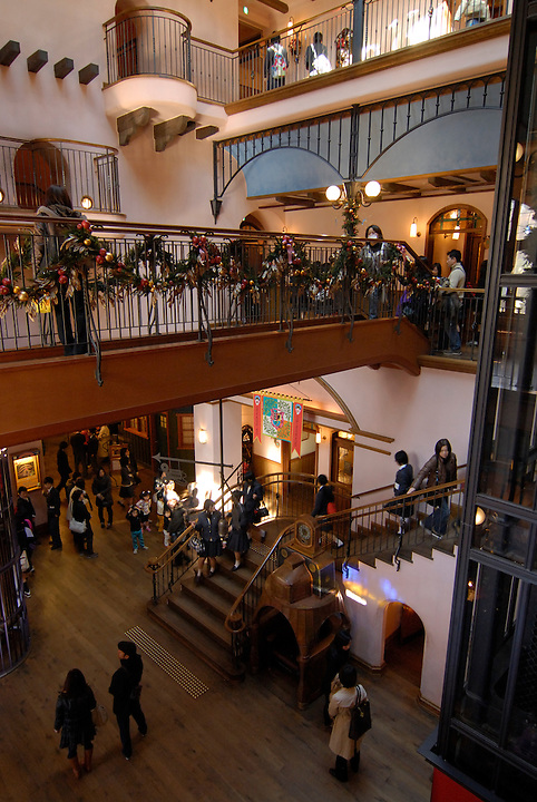 The interior of the museum. There is no set route for visitors to take around the museum. The Ghibli Museum in Mitaka, western Tokyo opened in 2001. It was designed by animator Miyazaki Hayao and receives around 650,500 visitors each year.