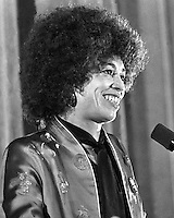 Black activist Angela Davis at a Black Power rally at the Oakland Auditorium (1980 photo by Ron Riesterer)