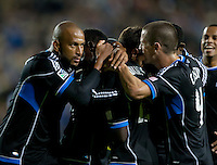 Santa Clara, California - Saturday July 14, 2012: San Jose Earthquakes teammates celebrate after Simon Dawkin's goal during a game against Real Salt Lake at Buck Shaw Stadium, Stanford, Ca     San Jose Earthquakes defeated Real Salt Lake 5 - 0.