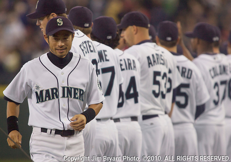 Seattle Mariners right fielder Ichiro Suzuki, of Japan, walks to home plate during opening ceremonies before the opening home game of the season with the Oakland Athletics at SAFECO Field in Seattle April 12, 2010.  During pregame ceremonies, Suzuki received his 9th consecutive Golden Glove and his  third Silver Slugger Awards. The Mariners open a three-game homestand against the Oakland Athletics.  Jim Bryant Photo. ©2010. ALL RIGHTS RESERVED.