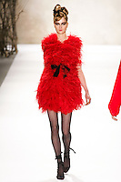 Debora Muller walks runway in a Monique Lhuillier Fall 2011 outfit, during Mercedes-Benz Fashion Week Fall 2011.