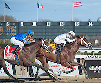 Gemologist, ridden by Javier Castellano, wins the Wood Memorial at Aqueduct Racetrack in Ozone Park, New York on Wood Memorial Day on April 7, 2012