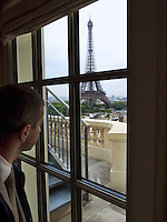 France. Department Ile-de-France. Paris. View on the Eiffel tower from the Shangri-La Hotel. The Eiffel Tower is a puddle iron lattice tower located on the Champ de Mars in Paris. Built in 1889, it has become both a global icon of France and one of the most recognizable structures in the world. The tower is the tallest building in Paris and the most-visited paid monument in the world; millions of people ascend it every year. Named after its designer, engineer Gustave Eiffel, the tower was built as the entrance arch to the 1889 World's Fair. The tower stands 324 metres tall, about the same height as an 81-storey building. Built in 1896 as the home of Prince Roland Bonaparte - Napoleon Bonaparte's grandnephew - the luxurious Shangri-La Hotel, Paris is situated in the elegant 16th arrondissement of Paris. The 81 rooms and suites - the largest among luxury hotels in Paris - offer guests the chance to enjoy an exclusive home in a unique setting. 13.07.2011 &copy; 2005 Didier Ruef ..