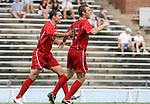 Ohio State's Doug Verhoff (15) celebrates his goal with Andrew Magill on Sunday September 3rd, 2006 at Fetzer Field on the campus of the University of North Carolina Chapel Hill in Chapel Hill, North Carolina. The Wake Forest University Demon Deacons defeated the Ohio State University Buckeyes 3-2 after overtime in an NCAA Division I Men's Soccer game.