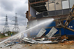 London 2012 Olympic site.  Symbolic start of demolition at Capital Print and Data factory Marshgate Lane July 26th 2007.