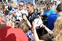 VOETBAL: HEERENVEEN: Abe Lenstra Stadion, 07-07-2012, Open Dag, trainer Marco van Basten wordt bedolven onder handtekeningenjagers tijdens de Open Dag van SC Heerenveen, ©foto Martin de Jong
