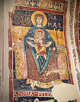Twelfth Century Romanesque fresco of the Madonna and Child from the church of Santa Maria de Taull, La Vall de Boi, Alta Ribagorca, Spain. National Art Museum of Catalonia, Barcelona. MNAC 3915