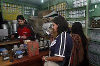 INDIA (West Bengal - Darjeeling) June 2007, Customers at Tea Emporium one of the oldest Tea exporters in Darjeeling. Darjeeling produces the best quality black tea in the world. Arindam Mukherjee