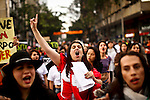 People shout slogans against government and church while they take part in a march supporting prostitution in Bogota, Colombia. 25/02/2012.  Photo by Eduardo Munoz Alvarez / VIEWpress.