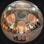 Ceiling and dome, Interior, St. Sava Cathedral, Belgrade, Serbia<br /> <br /> One of the ten largest churches in the world, Temple St. Sava is built on Vra?ar hill, the location where his remains were burned in 1595 by Ottoman Grand Vizier Sinan Pasha to squelch a Serbian uprising in the 16th century.
