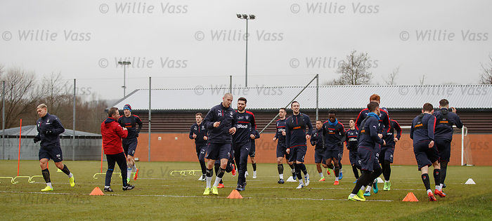 Rangers players warming up ahead of training