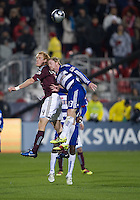 21 November 2010: Colorado Rapids midfielder Jeff Larentowicz #4 and FC Dallas midfielder Dax McCarty #13 in action during the 2010 MLS CUP between the Colorado Rapids and FC Dallas at BMO Field in Toronto, Ontario Canada..The Colorado Rapids won 2-1 in extra time....