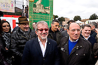 Rome, Italy. 30 January 2016<br /> Pictured: Roberto Maroni President of Lombardy, Senator Renato Schifani, Popular Area.<br /> Thousands of demonstrators take part in the Family Day rally at the Circo Massimo in central Rome  in support of traditional family and to protest against a bill to recognize civil unions, including same-sex ones currently under examination at the Italian Parliament.