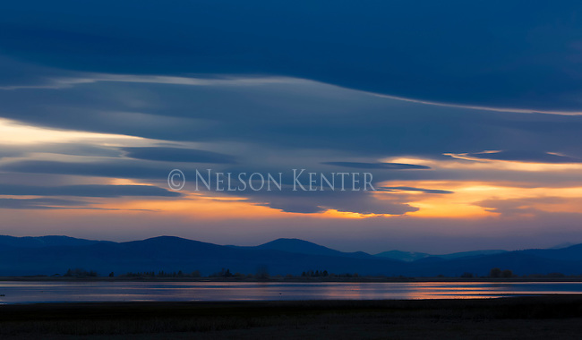Cloud patterns at sunset over the Ninepipe Reservoir in the Mission Valley in western Montana