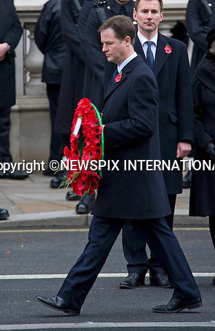 """NICK CLEGG.REMEMBRANCE SERVICE 2010.Prince Philip, Prince Charles, Prince Andrew Prince Edward and Princess Anne joined the Queen at the Cenotaph, London for the annual Service of Remembrance_14/11/2010..Mandatory Photo Credit: ©Dias/Newspix International..**ALL FEES PAYABLE TO: """"NEWSPIX INTERNATIONAL""""**..PHOTO CREDIT MANDATORY!!: NEWSPIX INTERNATIONAL(Failure to credit will incur a surcharge of 100% of reproduction fees)..IMMEDIATE CONFIRMATION OF USAGE REQUIRED:.Newspix International, 31 Chinnery Hill, Bishop's Stortford, ENGLAND CM23 3PS.Tel:+441279 324672  ; Fax: +441279656877.Mobile:  0777568 1153.e-mail: info@newspixinternational.co.uk"""