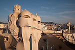 Chimney Pots on the Roof of Pedrera House in Barcelona, Catalonia, Spain