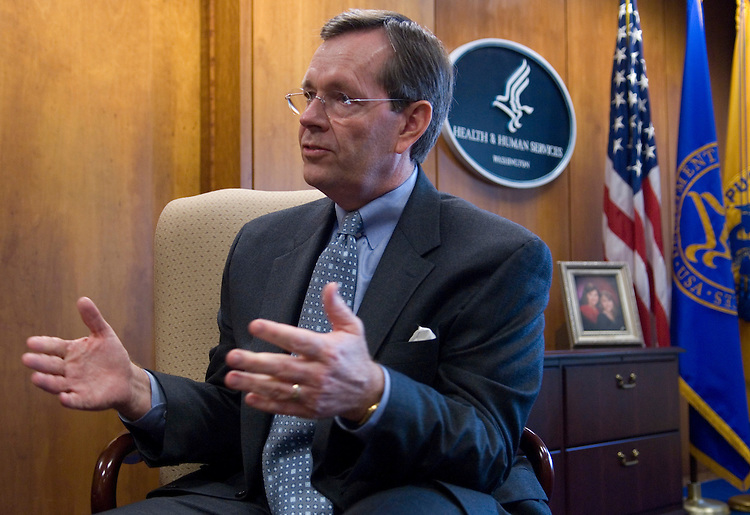 Mike Leavitt, Secretary of Health and Human Services, speaks with Roll Call in his office on Thursday, June 7, 2007.