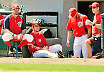 12 March 2012: Washington Nationals infielder Chris Marrero sits on the steps of the dugout during a Spring Training game against the St. Louis Cardinals at Space Coast Stadium in Viera, Florida. The Nationals defeated the Cardinals 8-4 in Grapefruit League play. Mandatory Credit: Ed Wolfstein Photo