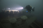 Diver on the wreck of the Norma which lies in over 50 metres of water in the English Channel