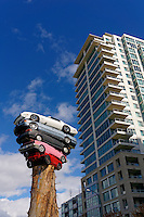 A new public art installation entitled Trans Am Totem by Marcus Bowcott in Vancouver, British Columbia