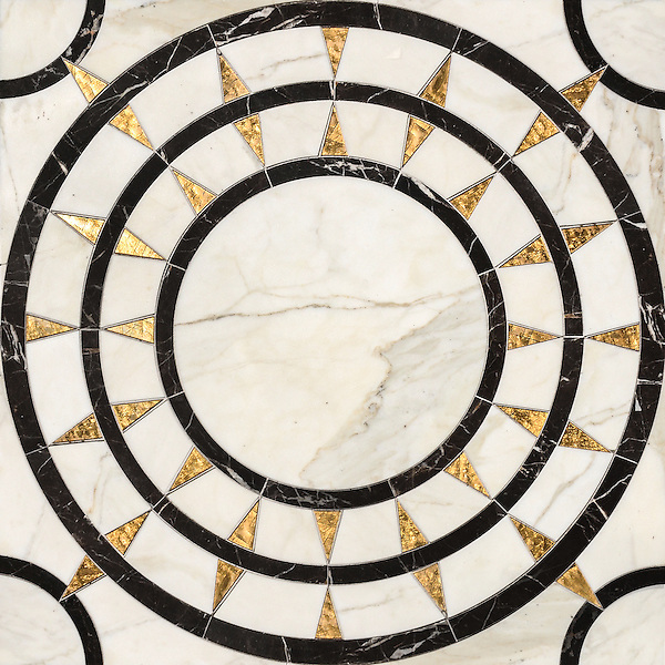 Mireille, a waterjet stone mosaic, shown in honed 24K Gold Glass, Calacatta and Saint Laurent, is part of the Aurora™ Collection by Sara Baldwin for New Ravenna.