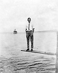 Lakewood NY:  Clark Stewart waiting for the City of Cleveland Ferry - 1901. Photographs taken during a church field trip to Chautauqua Institution in New York (Lake Chautauqua). The Stewart family and friends visited Chautauqua during 1901 to hear Stewart relative, Dr. S.H. Clark  speak at the institute. Alice Brady Stewart chaperoned and Brady Stewart came along to photograph the trip.  The Gallery provides a glimpse of how the privileged and church faithful spent summers at Lake Chautauqua at the turn of the century.