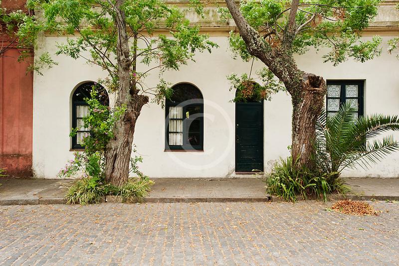 Uruguay, Colonia de Sacramento, White facade of historic building in old town