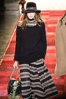 Julia Saner walks runway in an outfit from the Tommy Hilfiger Fall 2011 Bohemian Prep collection, during Mercedes-Benz Fashion Week Fall 2011.