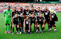 D.C. United lines up before the game at RFK Stadium in Washington DC.   D.C. United defeated the Montreal Impact, 3-0.