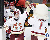 Edwin Shea (BC - 8), Patrick Wey (BC - 6), Philip Samuelsson (BC - 5), Baldwin - The Boston College Eagles defeated the Boston University Terriers 3-2 (OT) in their Beanpot opener on Monday, February 7, 2011, at TD Garden in Boston, Massachusetts.