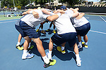 13 May 2016: Michigan's players huddle before the game. The University of Michigan Wolverines played the East Tennessee State University Buccaneers at the Wake Forest Tennis Center in Winston-Salem, North Carolina in a 2015-16 NCAA Division I Men's Tennis Tournament First Round match. Michigan won the match 4-3.