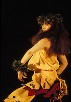 """EDITORIAL ONLY. Dancing """"""""kahiko"""""""" hula at the Merrie Monarch Hula festival. Hilo, Big Island"""