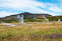 Geothermal activity in Haukadalur, Iceland. The Great Geysir is a geyser in Haukadalur, Iceland. It is the first recorded geyser known to Europeans.